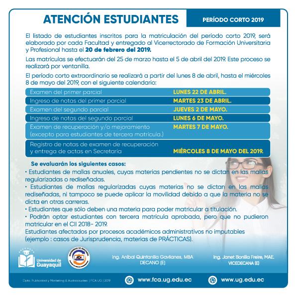 ATENCIÓN ESTUDIANTES – PERÍODO CORTO 2019.