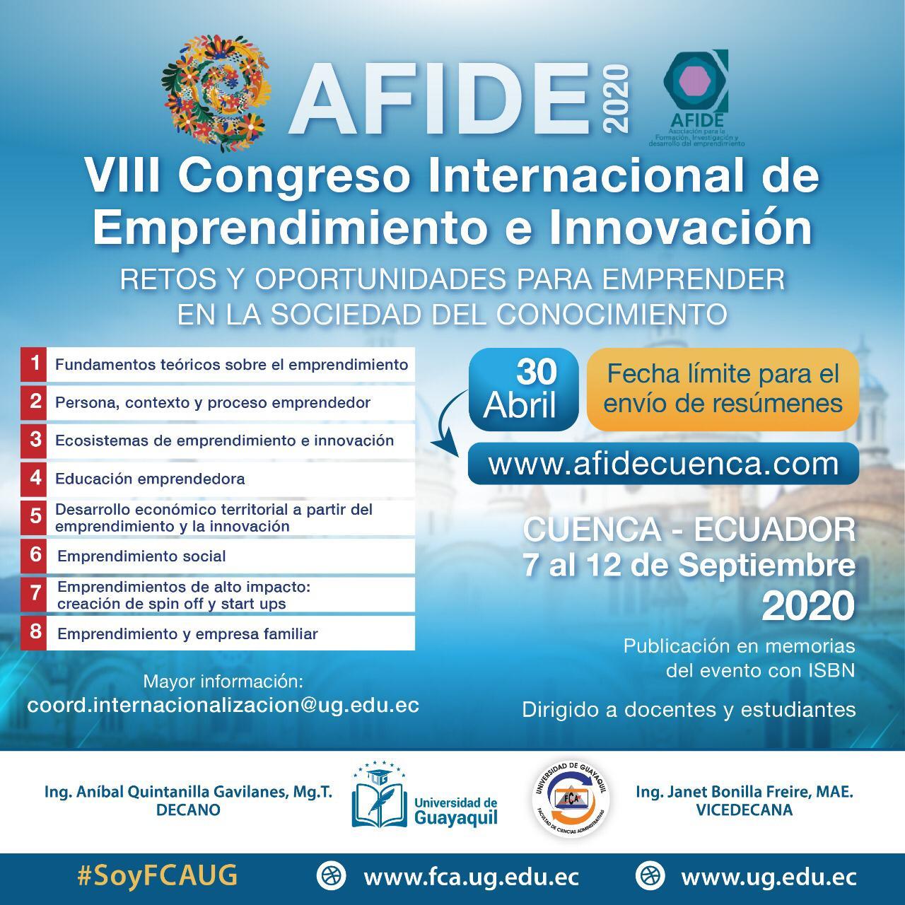 AFIDE 2020, VIII Congreso internacional de Emprendimiento e Innovación